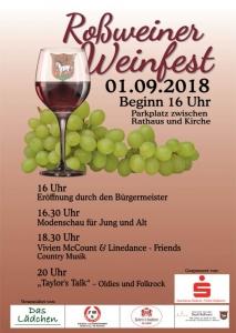Roßweiner Weinfest am 01.09.2018 ab 16:00 Uhr